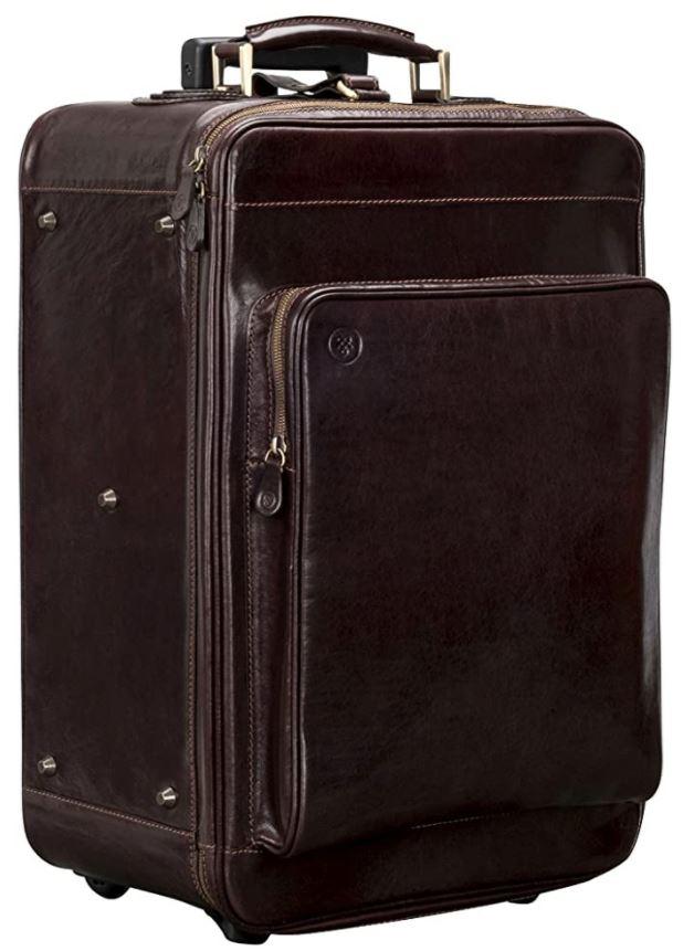 valise vintage en cuir marron foncé maxwell scott