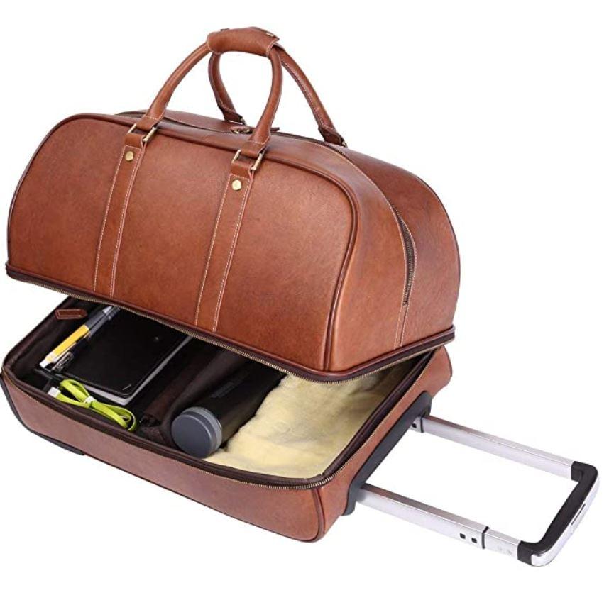 valise en cuir marron clair au look rétro de la marque Leathario